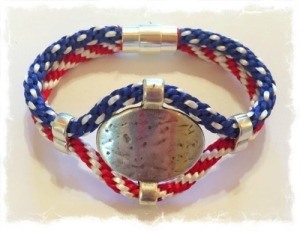 4th of July Bracelet with Hammered Accent and Sliders